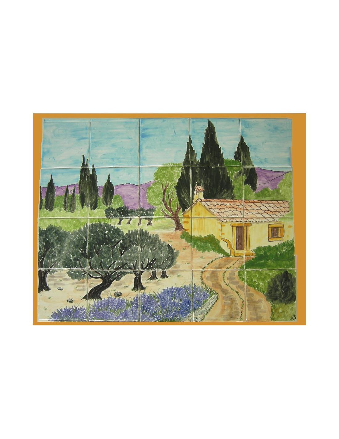 fresque murale sur carreaux de faience decor artisanal modele cabanon et campagne provencale 40x50
