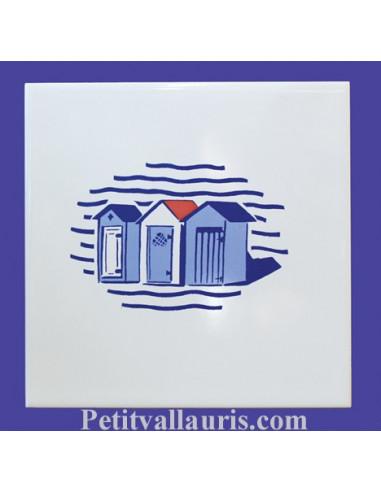 carrelage blanc brillant collection marine avec motif cabine de bain