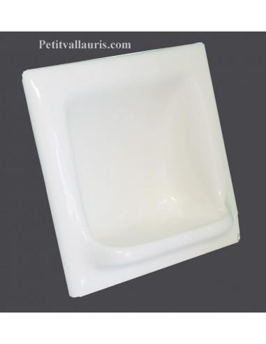 porte savon en faience modele carre a encastrer emaille uni blanc brillant