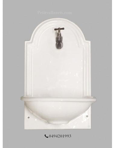petite fontaine lave main murale en ceramique unie blanche