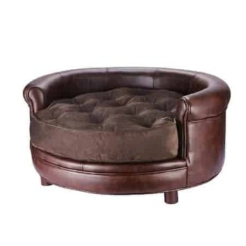 Villacera Chesterfield Real Faux Leather Large Dog Bed