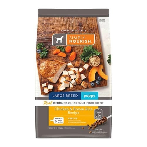Simply Nourish Chicken Brown Rice Recipe Large Breed Puppy Dry Dog Food 1