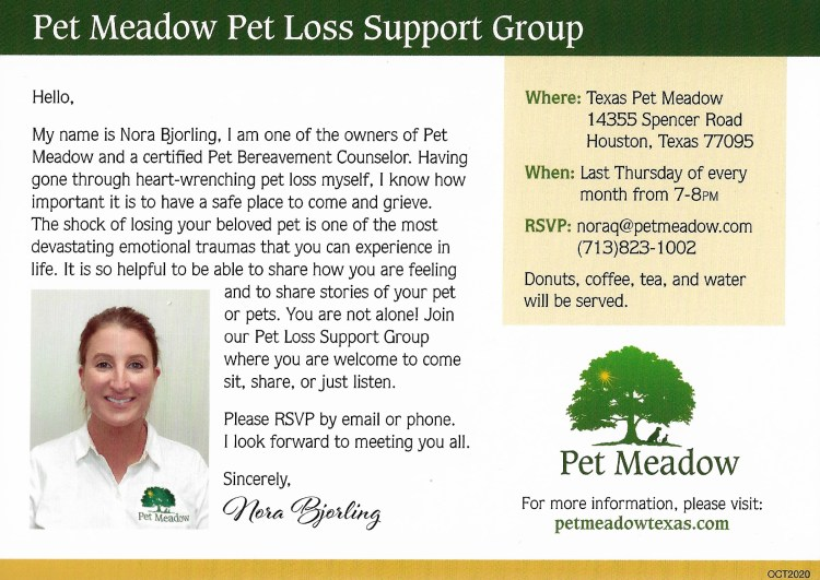 pet loss support flyer