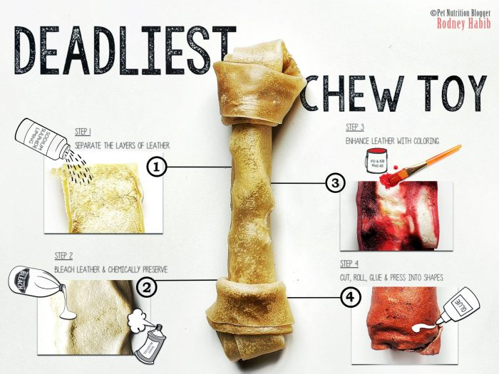A dramatic illustration like this shows why pet parents must heed this rawhide bones safety warning