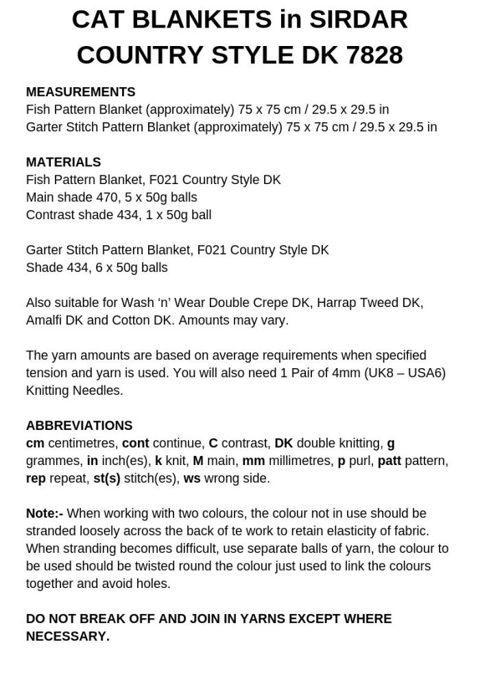 Cat blankets pattern page 1, what to know before you get started. Reproduced by permission of Sirdar Spinning Ltd.