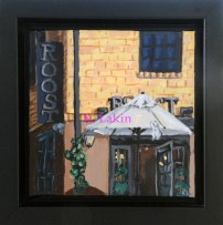 """""""Roost Coffee Shop"""" 6x6"""" framed"""