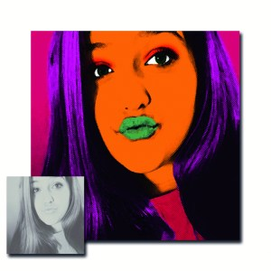 """Pop Art portrait created for Tiffany. """"I ordered a pop art portrait as a gift for my niece who is obsessed with selfies. Marion was amazing to work with. She answered all my questions and even helped me with my picture selection to ensure the portrait was exactly what I wanted. I was a little hesitant shopping around because my idea was to print the portrait onto a 30 x 30 canvas but it turned out perfect. I would highly recommend Marion & look forward to working with her again."""" www.etsy.com/shop/MarionDeLauzun/reviews"""
