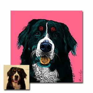 """Pop Art portrait created for Kelsey """"Marion was wonderful to work with. She was responsive and accommodating of my quick turnaround time. She listened to exactly what I wanted and delivered above and beyond. I had this transferred to canvas to give to a friend (it was her pup who passed away) and she loved it. It was great to receive a few different file types and Marion also provided guidance on the best uses for each type. Bravo!"""" www.etsy.com/shop/MarionDeLauzun/reviews"""