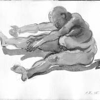 Stretching, Aging of the Man, Book Illustration Series, 2007, Japanese Ink on paper, A4| 1500 EUR