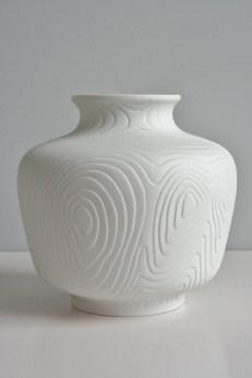 Hutschenreuther Tirschenreuth Op Art biscuit porcelain vase 20cm 1960s