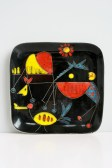 Wall plate Miró like decor ca. 25 x 25 cm, 1950s