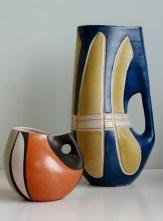 Krösselbach Fayence vases design by Cläre Zange and Karl-Heinz Löffler 1955-56