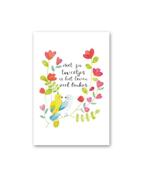 Wenskaart liefde waterverf vogels Petra van Dreumel