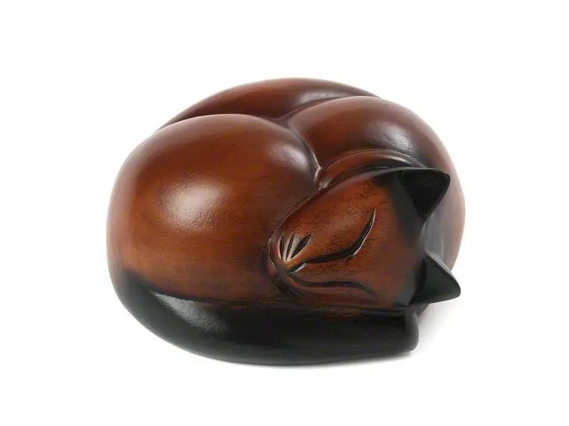 Beautiful carved wooden figurine Sleeping Cat urns for pet cat ashes. Can be personalised.