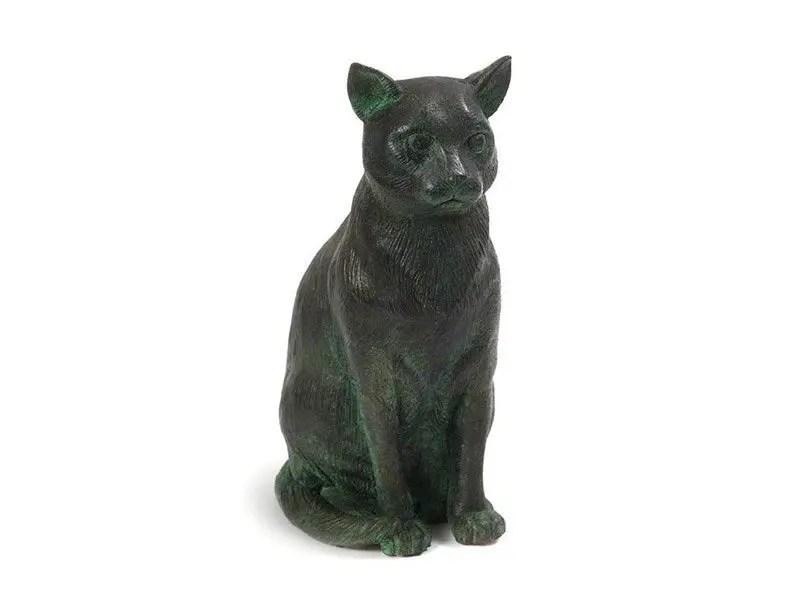 Sitting Cat Urn - Aged Bronze