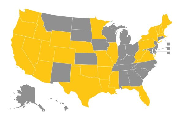States with Medicaid programs that have a policy that requires prior authorization for ADHD medications prescribed to children younger than 28 years old.