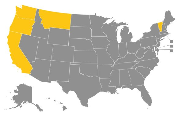 Five states – California, Montana, Oregon, Vermont and Washington – allow a terminally ill adult the ability to obtain a prescription for a lethal dose of medicine from a physician. California is the most recent state to enact this type of law.
