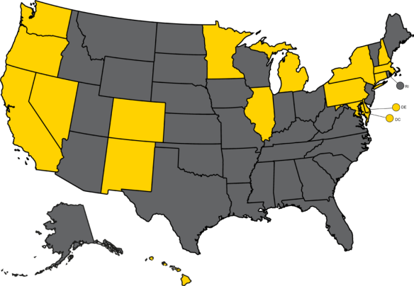 17 states and Washington DC are shown in yellow on a US map