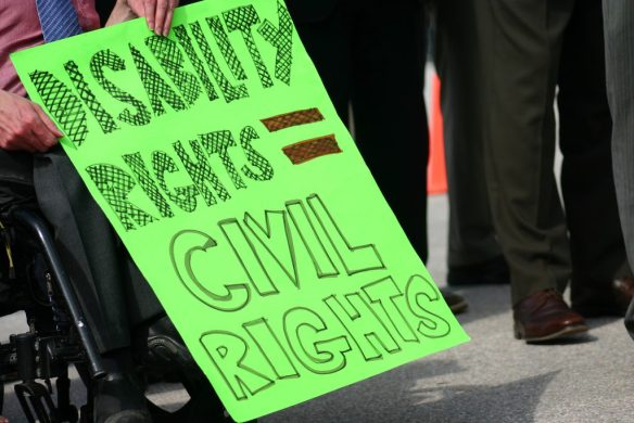 disability rights protest sign