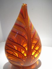 "Amber-Leaf-Vase, Medium: Glass Canvas Size: 9"" x 4"" x 16"" Artist: Cohn-Stone Glass Studios"