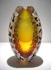 "Amber-Leopard-Perfume-Bottle, Medium: Glass Canvas Size: 5.5"" x 9"" Artist: Correia Glass"