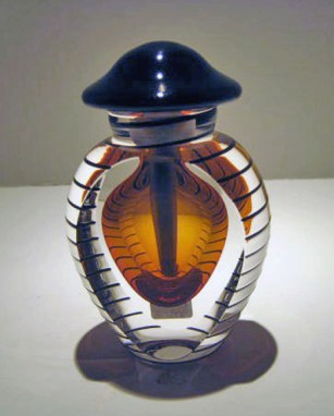 "Amber-Perfume-Bottle, Medium: Glass Canvas Size: 2.5"" x 4"" Artist: Correia Glass"