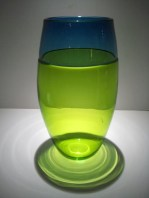"Chartreuse-Teal-Blue-Vase, Medium: Glass Canvas Size: 13"" x 7"" Artist: Correia Glass"
