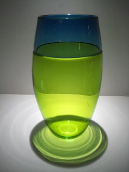 "Chartreuse-Teal-Blue-Vase, Medium: Glass Canvas Size: 13"" x 7"" Artist: Correia Glass"