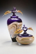 "Amethyst-Strata-Jar-Bowl-with-Avian-Finials, Medium: Hand Blown Glass Jar Size: Large 17"", Small 14"" Bowl Size: Large 12"", Small 9"" (Dia.) Artist: GartnerBlade"