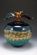 """Black-Opal-with-Turquoise-Sphere-with-Avian-Finial, Medium: Hand Blown Glass Size: Large 15"""" Small 12"""" Artist: GartnerBlade"""