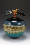 "Black-Opal-with-Turquoise-Sphere-with-Avian-Finial, Medium: Hand Blown Glass Size: Large 15"" Small 12"" Artist: GartnerBlade"