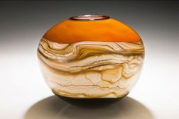 "Tangerine-Strata-Sphere, Medium: Hand Blown Glass Size: Large 11"", Medium 9"", Small 7"" (Dia.) Artist: GartnerBlade"
