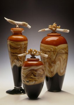 "Tangerine-Vessels-with-Bone-Tendril-Finials, Medium: Hand Blown Glass Footed Vessel: 19"" Large Jar: 18"" Small Jar: 13"" Artist: GartnerBlade"