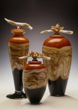 "Tangerine-Vessels-with-Bone-Tendril-Finials, Medium: Hand Blown Glass Footed Vessel: 19"" Large Jar: 18"" Small Jar: 13"" Artist: GartnerBlade"