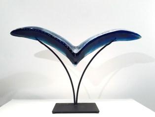 """Bird-Medium, Medium: Hand Blown & Cast Glass #19157 Size: 19"""" x 33"""" x 6.5"""" Artist: Susan Gott"""