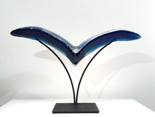 "Bird-Medium, Medium: Hand Blown & Cast Glass #19157 Size: 19"" x 33"" x 6.5"" Artist: Susan Gott"