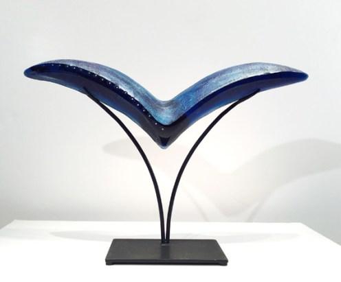 """Bird-Small, Medium: Hand Blown & Cast Glass #19158 Size: 17.5"""" x 28"""" x 6"""" Artist: Susan Gott"""