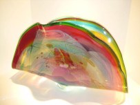 "Ruby-and-Teal-Fan, Medium: Glass Size: 25"" x 14"" x 8"" Artist: Chris Hawthorne"