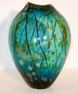 "Aqua Gold Series Oval Vase, Medium: Hand-blown Glass Size: 14"" x 11"" x 11"" Artist: Tim Lazer #20157 Price: $1,350.00 REDUCED: $850.00"