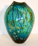 "Aqua-Gold-Series-Oval-Vase, Medium: Hand-blown Glass Canvas Size: 14"" x 11"" x 11"" Artist: Tim Lazer #20157"