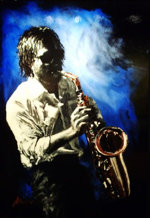 "Jazz-Man, Medium: Original Acrylic on Aluminum Framed Size: 36"" x 24"" Artist: Shawn Mackey"