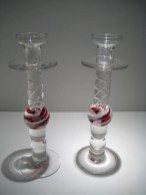 "Pair Fluted Candlesticks, Medium: Sand Moulded Glass Size: 10"" x 3"" Artist: Steven Maslach"