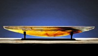"Amber Long Boat Artist: Steven Maslach Sand Moulded Glass 42"" x 6.5"" x 6"""