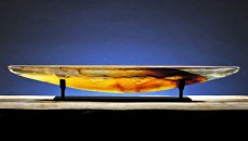 "Amber Long Boat Artist: Steven Maslach Sand Moulded Glass 42"" x 6.5"" x 6"""