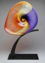 "Sunset-Aerial-Amethyst-Coral-Gold-Topaz, Medium: Hand Blown Glass Size: 40"" x 22"" x 8"" Artist: Rick Nicholson"