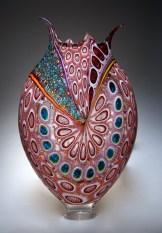 """Foglio-Red-Murine, Medium: Hand-Blown Glass Size: 23.5"""" x 13.5"""" x 4.5"""" Artist: David Patchen"""