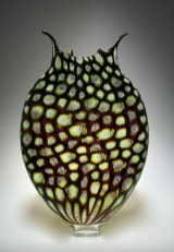 "Green-Foglio, Medium: Hand-Blown Glass Size: 20"" x 13"" x 4.5"" Artist: David Patchen"