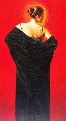 "Old-Black-Shawl, Medium: Original Oil on Canvas Size: 24"" x 36"" Framed: 31"" x 41"" Artist: Gabriel Picart"