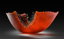 "Spiral-Red-Bowl-Large, Medium: Pate de Verre Glass Size: 7"" x 23"" x 10"" Artist: Patty Roberts"
