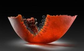 "Spiral-Red-Bowl-Large, Medium: Pate de Verre Glass Size: 7"" x 23"" x 10"" Artist: Patty Roberts"